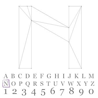 Vector laag poly nummers lettertype. veelhoek nummer alfabet. vector illustratie.