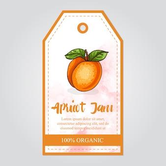Vector label van abrikozenjam met aquarel achtergrond