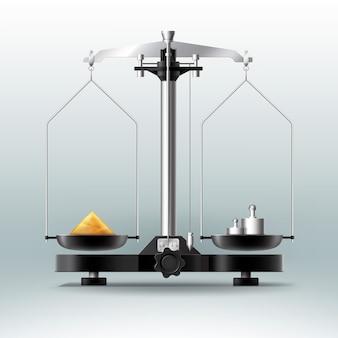 Vector laboratoriumbalans met gewichten, halters en spullen, zijaanzicht geïsoleerd op achtergrond