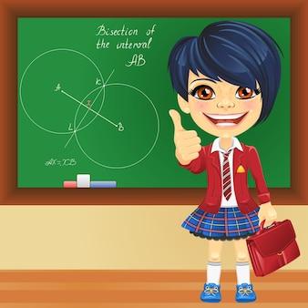 Vector lachend schoolmeisje in de buurt van blackboard