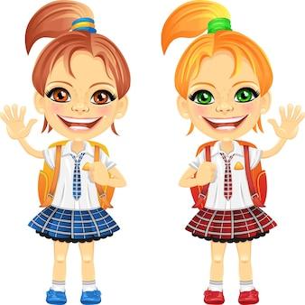 Vector lachende kastanje en roodharige schattige schoolmeisjes