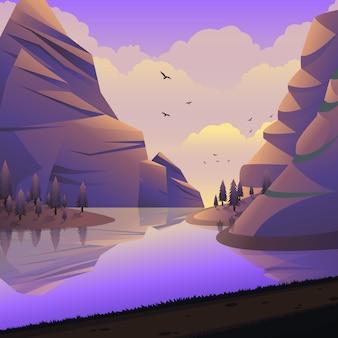 Vector landschap berg klif