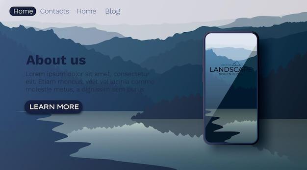 Vector landschap met silhouetten van bergen en water. bergmeer. smartphone-scherm