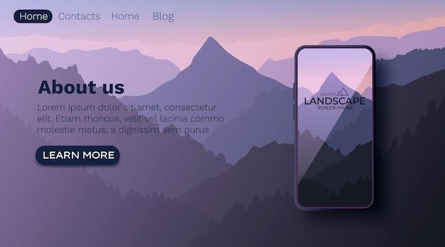 Vector landschap met silhouetten van bergen. natuur muur. smartphone-scherm