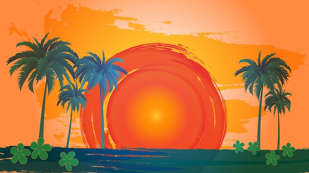 Vector landschap van palmbomen over hemel en zon.