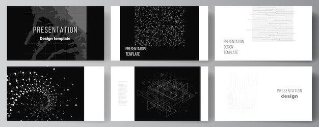 Vector lay-out van de presentatie dia's zakelijke sjablonen ontwerpsjabloon voor presentatie brochure brochure dekking verslag abstracte technologie zwarte kleur wetenschap achtergrond high-tech concept