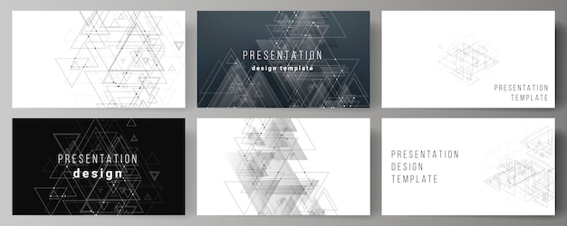 Vector lay-out van de presentatie dia's zakelijke sjablonen, veelhoekige achtergrond met driehoeken