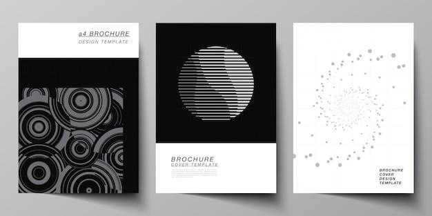 Vector lay-out van een cover mockups sjablonen voor brochure flyer lay-out boekje cover ontwerp boek ontwerp abstracte technologie zwarte kleur wetenschap achtergrond digitale gegevens minimalistische high-tech