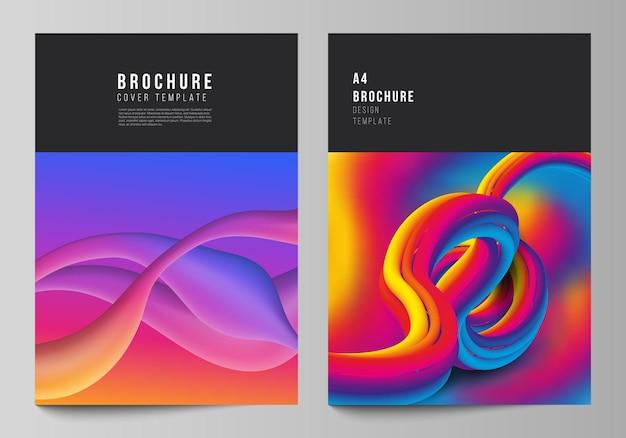 Vector lay-out van een formaat moderne cover mockups ontwerpsjablonen voor brochure tijdschrift flyer boekje futuristische technologie ontwerp kleurrijke achtergronden met vloeiende gradiënt vormen samenstelling