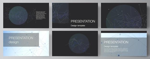 Vector lay-out van presentatie dia's ontwerp zakelijke sjablonen multifunctionele sjabloon voor presentatie brochure brochure dekking rapport blauwe medische achtergrond met verbindingslijnen en punten plexus