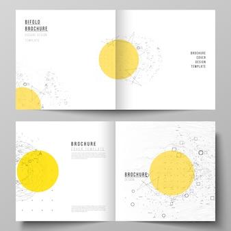 Vector lay-out van twee coversjablonen voor vierkante tweevoudige brochure,