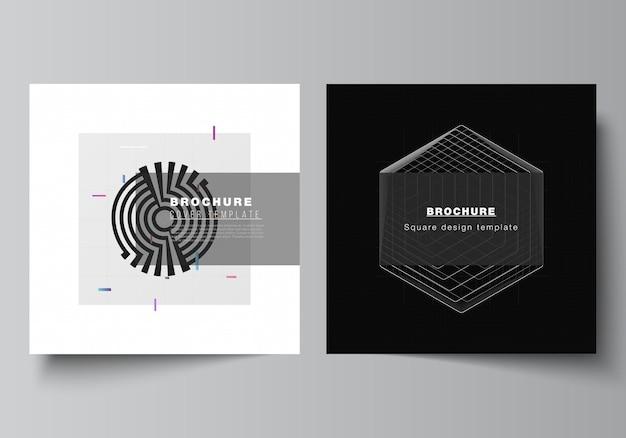 Vector lay-out van twee vierkante covers ontwerpsjablonen voor brochure, flyer, tijdschrift, omslagontwerp, boekontwerp. zwarte kleur technische achtergrond. digitale visualisatie van wetenschap, geneeskunde, tech concept