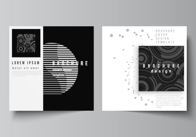 Vector lay-out van twee vierkante covers sjablonen voor brochure flyer cover ontwerp boek ontwerp brochure dekking abstracte technologie zwarte kleur wetenschap achtergrond digitale gegevens high-tech concept
