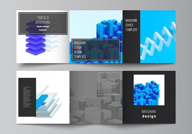 Vector lay-out van vierkante covers ontwerpsjablonen voor driebladige brochure flyer tijdschrift cover ontwerp boek ontwerp d render vector samenstelling met dynamische realistische geometrische blauwe vormen in beweging