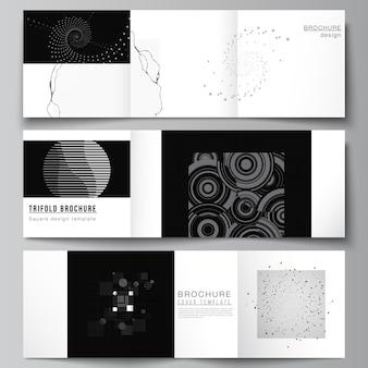 Vector lay-out van vierkante covers sjablonen voor driebladige brochure, flyer, tijdschrift, omslagontwerp, boekontwerp. abstracte technologie zwarte kleur wetenschap achtergrond. digitale gegevens. minimalistisch hightech concept
