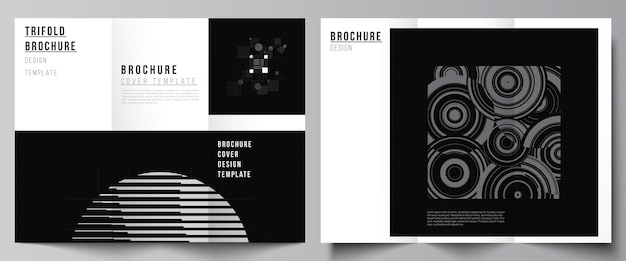 Vector lay-outs van covers sjablonen voor driebladige brochure folder lay-out boek ontwerp brochure dekking abstracte technologie zwarte kleur wetenschap achtergrond digitale gegevens minimalistische high-tech concept