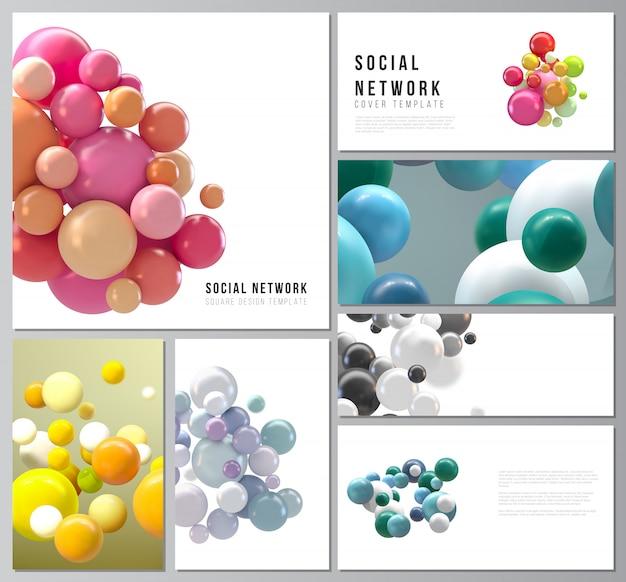 Vector lay-outs van sociale netwerkmodellen voor omslagontwerp, websiteontwerp