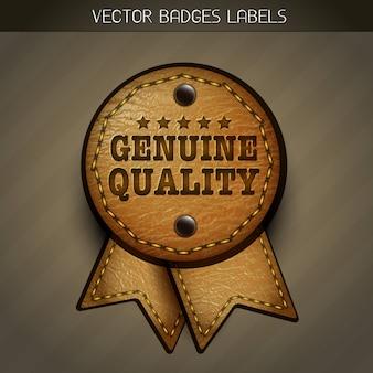 Vector leder echte label illustratie