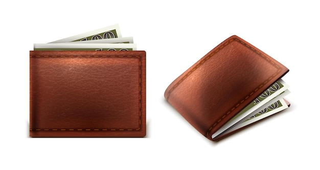 Vector lederen portemonnee met contant geld binnen in zij- en vooraanzicht