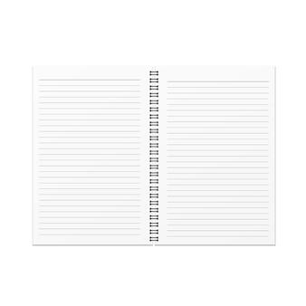 Vector leeg open notitieboekje en horizontaal lijnmalplaatje op witte achtergrond.