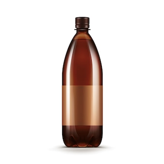 Vector lege bruine plastic het kwasfles van het waterbier die op wit wordt geïsoleerd