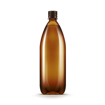 Vector lege bruine plastic het kwasfles van het waterbier die op witte achtergrond wordt geïsoleerd