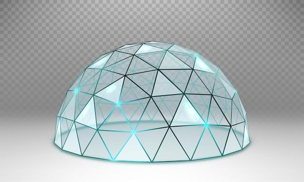 Vector lege glazen bolvormige koepel. ronde glazen stolp met frame