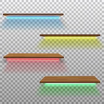 Vector lege houten plank met geïsoleerde neonlampen