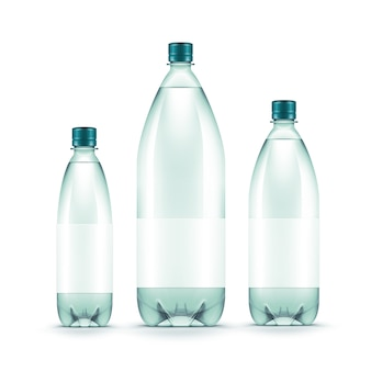 Vector lege plastic blauwe geïsoleerde waterfles
