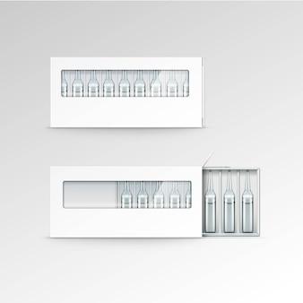 Vector lege verpakking voor ampullen geïsoleerd op wit