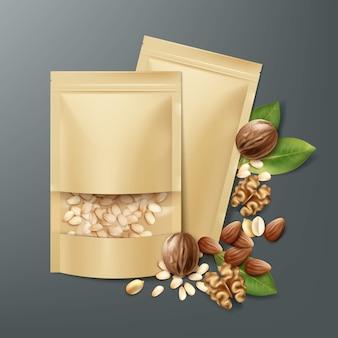 Vector lege verzegelde folie, plastic zakken vol met gepelde pijnboompitten met walnoten, amandelen en pinda's bovenaanzicht op donkere achtergrond