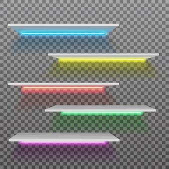 Vector lege witte plastic plank met geïsoleerde neonlampen