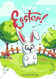 Vector lente pasen groet illustratie met grappig konijntje op groen gazon