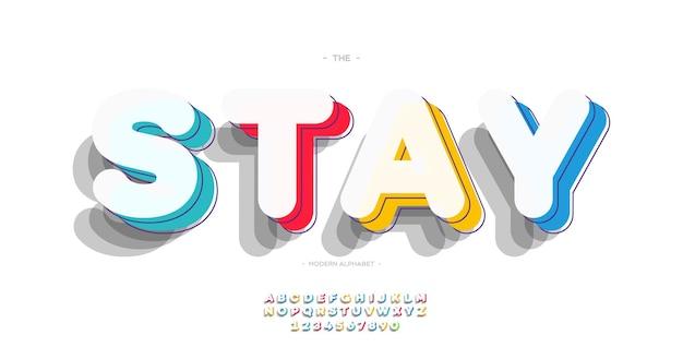 Vector lettertype 3d vetgedrukte kleurstijl moderne typografie voor t-shirt, game