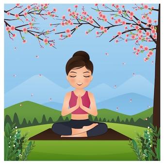 Vector leuke cartoon ontspannen jong meisje beoefent yoga en mediteert in prachtige natuur en bloemen. landschap achtergrond