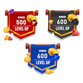 Vector level up winnende beloningsspel