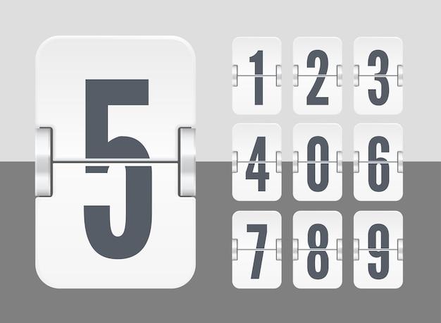 Vector licht flip scorebord sjabloon met numbersfor witte countdown timer of kalender geïsoleerd op lichte en donkere achtergrond.