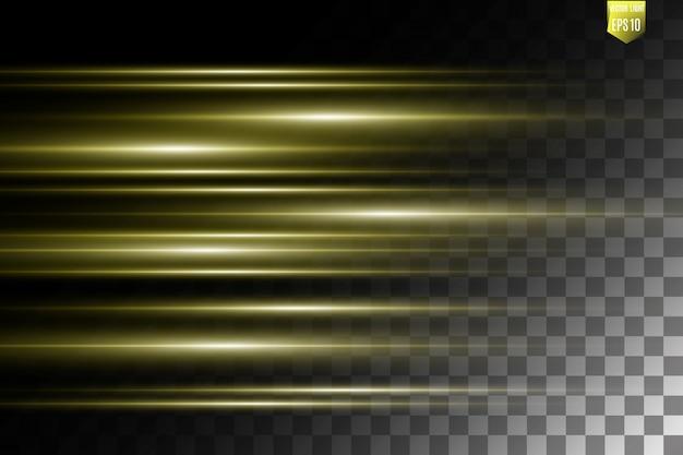 Vector licht speciaal effect. lichtgevende strepen op een transparante achtergrond.