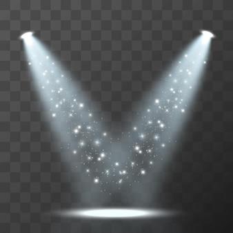 Vector lichtbronnen concertverlichting schijnwerpers set concert schijnwerper met verlichte straal
