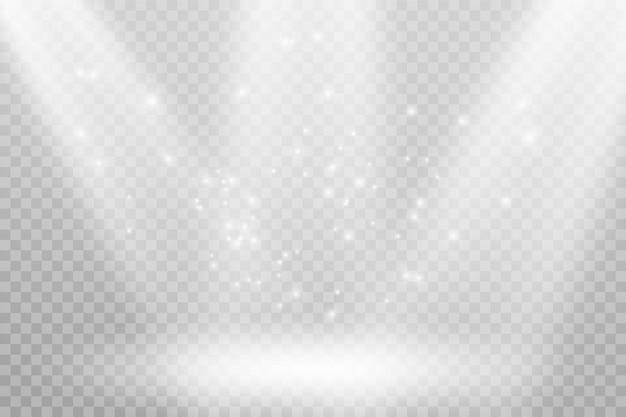 Vector lichtbronnen, concertverlichting, spots set. concertschijnwerper met straal, verlichte schijnwerpers voor webdesignillustratie.