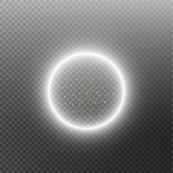 Vector lichte ring. ronde glanzende bol met lichten stofspoor deeltjes geïsoleerd. magisch concept