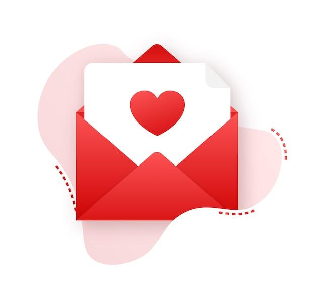 Vector liefde pictogram rode envelop. romantische envelop. envelop bericht brief. vector illustratie.