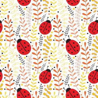 Vector lieveheersbeestje naadloze patroon achtergrond