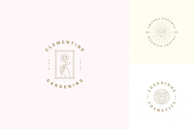 Vector lijn emblemen emblemen ontwerpsjablonen set - vrouwelijke gebaar hand en roze bloem illustraties lineaire stijl
