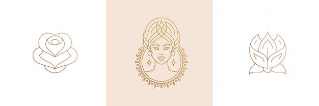 Vector lijn vrouwelijke decoratie designelementen instellen