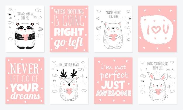 Vector lijntekening briefkaart collectie met schattige dieren en harten. doodle illustratie. valentijnsdag, jubileum, babyshower, verjaardag, kinderfeestje