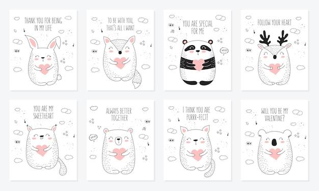Vector lijntekening briefkaart collectie met schattige dieren en harten doodle illustratie