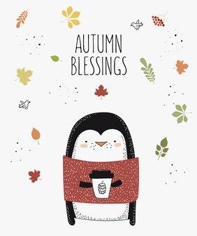 Vector lijntekening dier in trui met slogan over herfst doodle illustratie