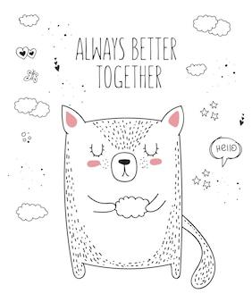 Vector lijntekening dier met slogan over vriend doodle illustratie