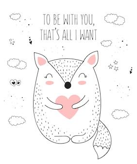 Vector lijntekening poster met schattig dier en hart